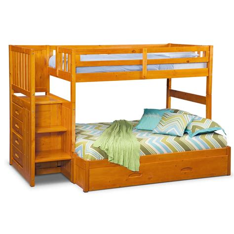 Bunk Bed Pine Ranger Bunk Bed With Storage Stairs Trundle Pine American Signature Furniture