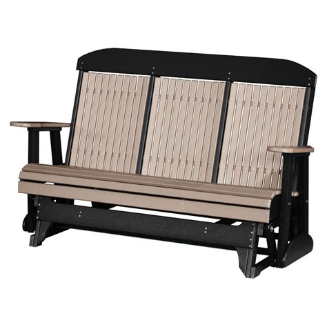outdoor bench glider luxcraft polywood outdoor 5 foot highback glider bench