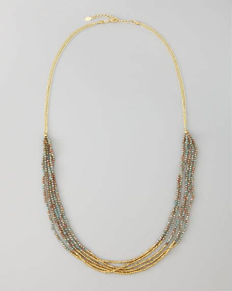 Beaded Multi Chain Necklace nakamol multi chain beaded necklace golden