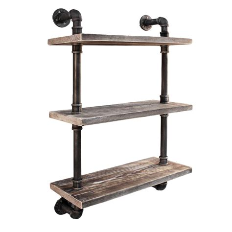 new industrial floating pipe wall shelf ebay