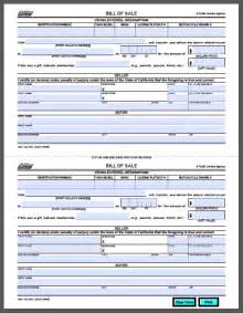 Bill Of Sale California Template by California Vehicle Bill Of Sale Form Free Fillable Pdf Forms