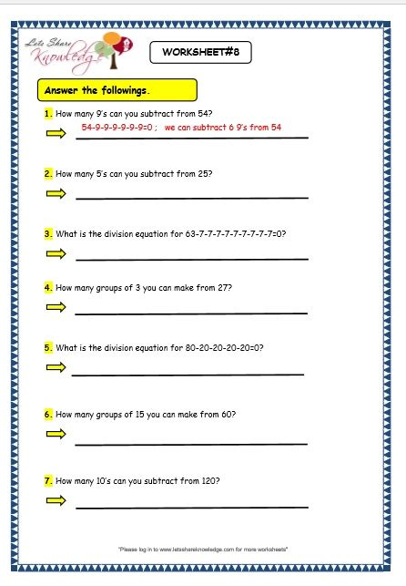 Repeated Subtraction Worksheets 2nd Grade grade maths worksheets division by repeated grade best