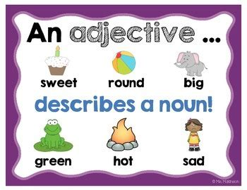 printable adjectives poster adjectives anchor chart by ms makinson teachers pay teachers