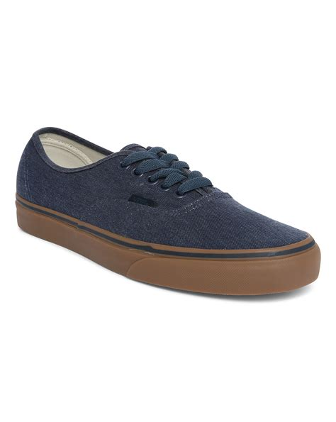 gum sole sneakers vans blue authentic washed canvas sneakers with gum sole