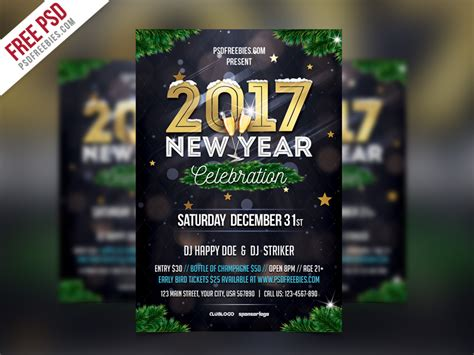 new year template psd free psd new year flyer template psd by psd