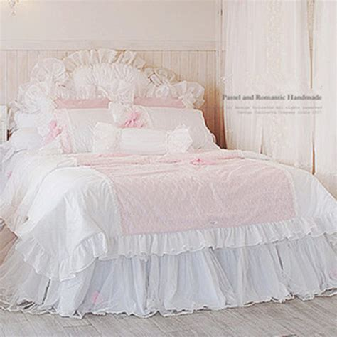 Bed Cover 160x200 sweet princess bedding set lace quilted duvet cover yarn bed skirt bow wedding
