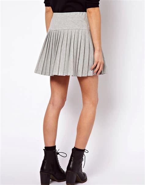 asos asos pleated mini skirt with drop waist at asos
