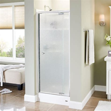Delta Glass Shower Doors Delta Mandara 31 In X 66 In Semi Frameless Pivot Shower Door In Chrome With Glass