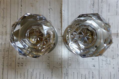 Glass Door Knobs With Backplates by Pair Vintage Cut Glass Door Knobs Nickel Plated Brass