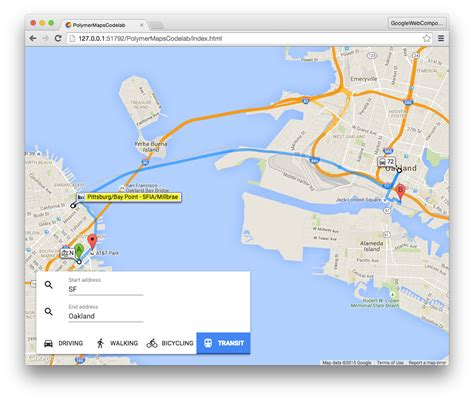 driving directions without map build maps using web components no code
