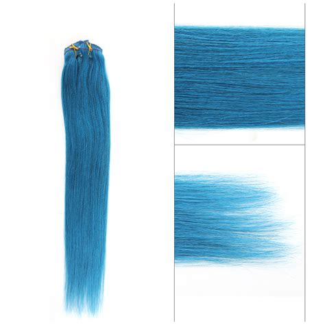 18 blue 100 human hair clip on in extensions 2pcs 5a blue human clip in hair