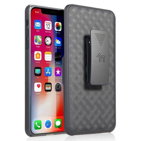 iphone xr with clip nakedcellphone black kickstand cover with rotating ratchet belt hip
