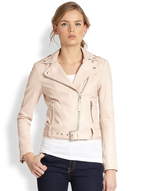pink motorcycle jacket mackage leather motorcycle jacket in pink blush lyst