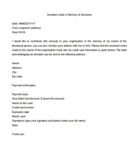 thank you letter for gift in memory of 9 donation letter templates free sle exle format