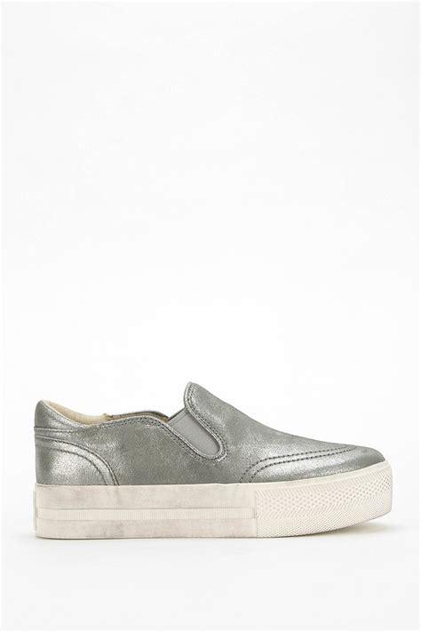 silver platform sneakers ash rodeo leather platform slipon sneaker in silver lyst