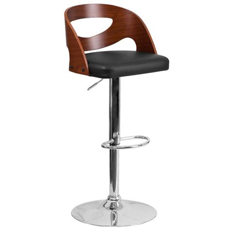contemporary kelly rolling chrome and black adjustable height stool contemporary bar stools contemporary adjustable bar stool in black and walnut sd