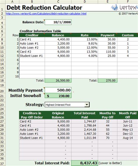 Excel Template Credit Card Payoff Free Excel Based Debt Reduction Calculator To Payoff