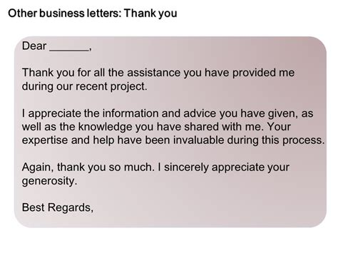 Thank You Letter Knowledge Sle Business Letters Inquiry Ppt
