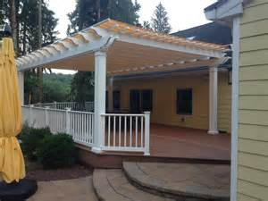 Backyard Deck Covers Fiberglass Pergola With Shade Canopy New Jersey
