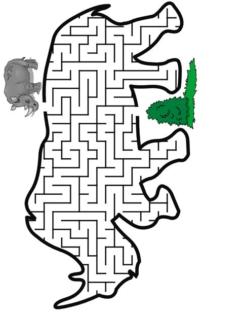 printable cheetah maze rhino maze guide the rhino thru the maze to some food