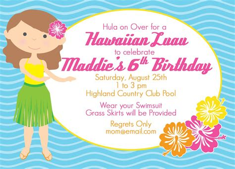 Hawaiian Theme Invitations Printable