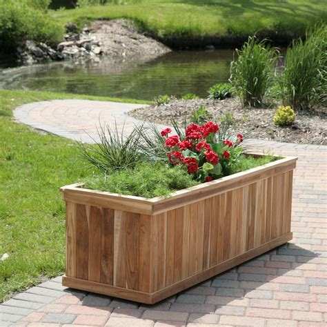 Wooden Garden Planter Boxes by Rectangle Teak Wood Road Tree Box Garden Dreams