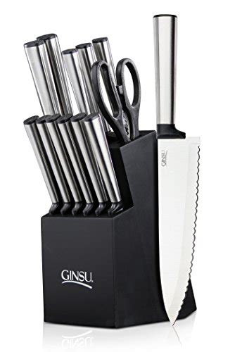 stainless steel kitchen knives set 2018 ginsu koden series 14 stainless steel serrated knife set cutlery set with stainless