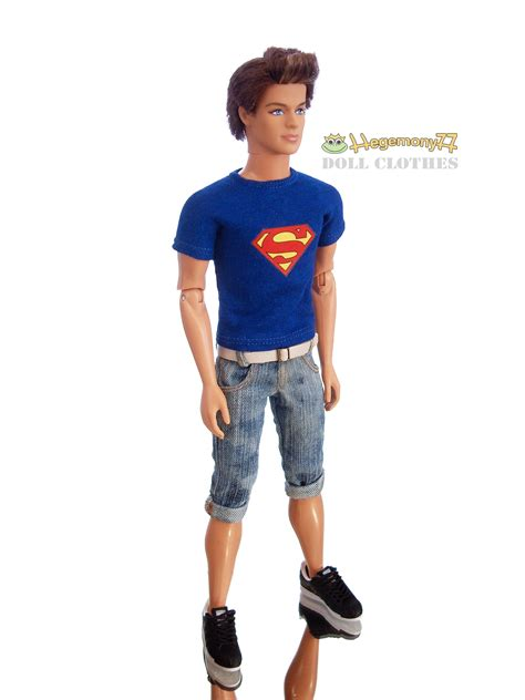fashion ken doll ken doll in superman t shirt and washed worn shorts