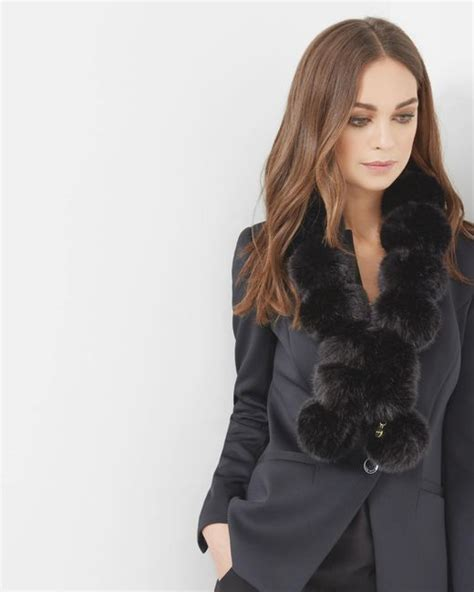 Ted Baker Pom Pom Faux Fur Scarf by Ted Baker Pom Pom Faux Fur Scarf In Black Lyst
