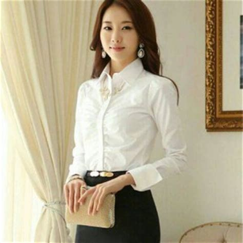 Kemeja Wanita Kemeja Lengan Panjang Kemeja Putih Yb 1 baju kemeja wanita lengan panjang putih terbaru murah