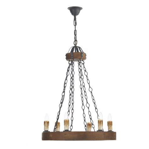 Wooden Chandelier Lighting Tudor Style Wooden Ceiling Chandelier Light With 6 Candle Lights