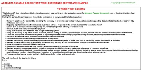 Work Experience Letter For Accountant Search Results For Work Experience Certificate Sle For Accountant Calendar 2015