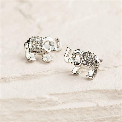 silver elephant stud earrings world market