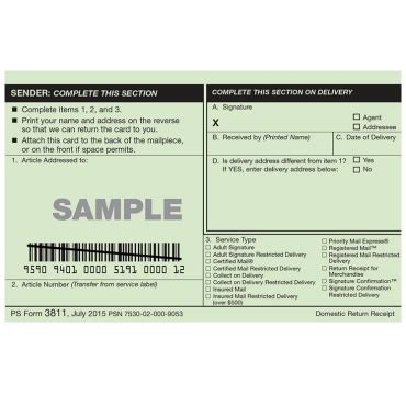 return receipt template domestic return receipt usps