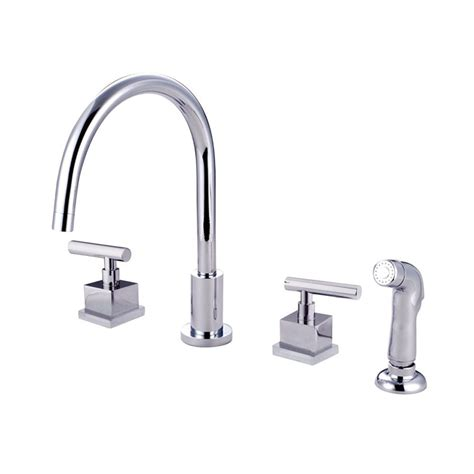 2 Handle Kitchen Faucets Shop Elements Of Design Polished Chrome 2 Handle Deck Mount High Arc Kitchen Faucet At Lowes