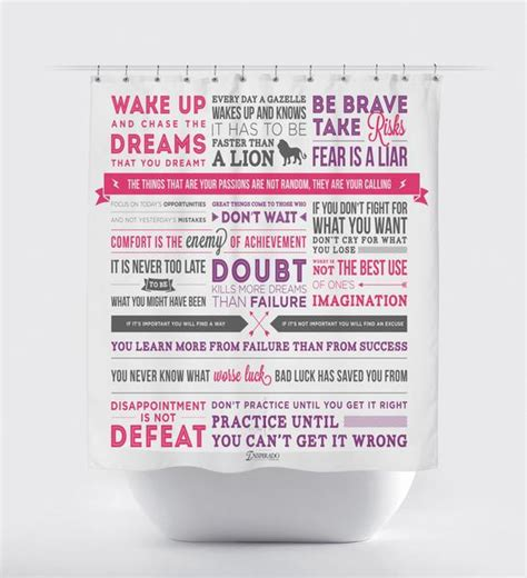 Shower Curtains With Quotes Inspirational Quotes And Phrases Fabric Shower Curtain Using Typography Inspirado Co