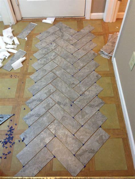 DIY Herringbone Vinyl Tile Pattern via Grace   Gumption