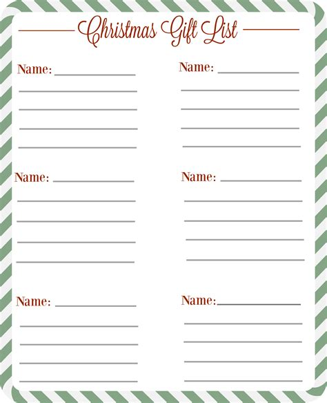 gift list gift checklist free printable the diary of a