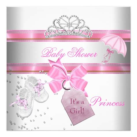 Baby Shower Invitations Princess Theme by Baby Shower White Pink Princess Tiara Magical