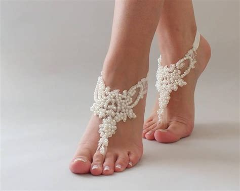 Lace Sandals Wedding by Bridal Anklet Pearl Lace Barefoot Sandals Free Shipping