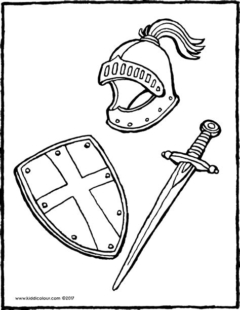knight helmet coloring page helmet shield and sword kiddi kleurprentjes