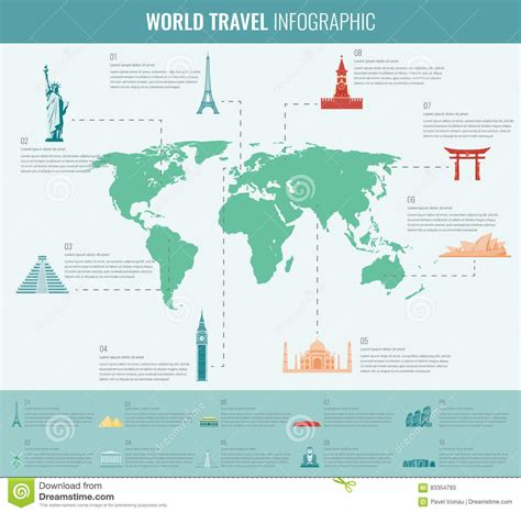 map world mouments travel and tourism infographic set with world map and