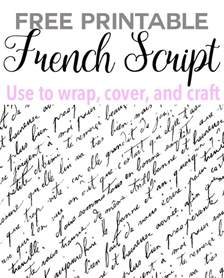 Home Decoration Things Free Printable French Script Paper In My Own Style