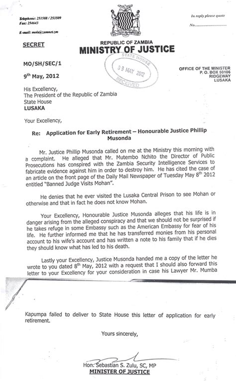 Letter Of Self Introduction To An Embassy Zambia Letter From Justice Minister To President Nchito Allegedly Conspired To Destroy