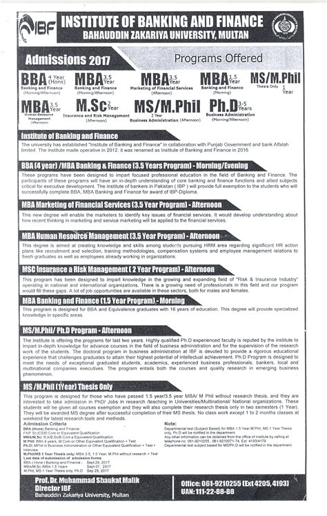 Hec Mba Equivalent To M Phil by Bahauddin Zakariya Admissions 2018 2017 In
