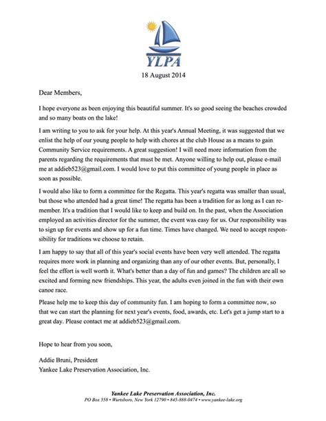 Support Letter For Volunteers Yankee Lake Preservation Association Inc Volunteers Needed
