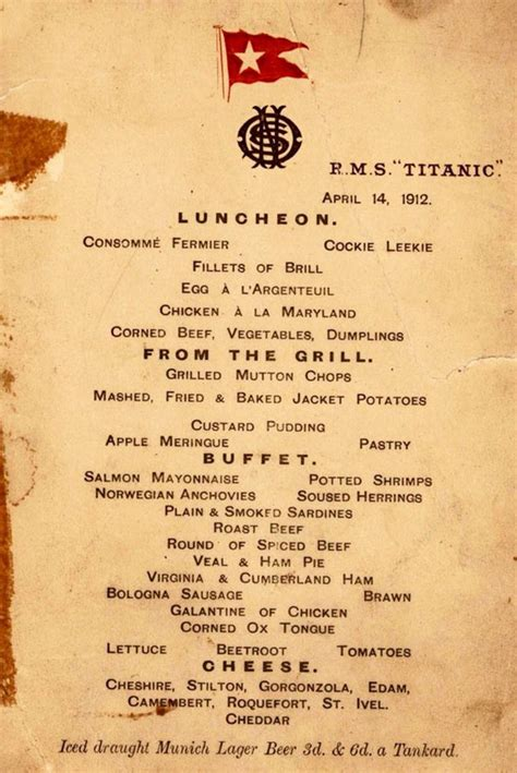 Titanic Menus | titanic food menus for 1st 2nd and 3rd class passengers