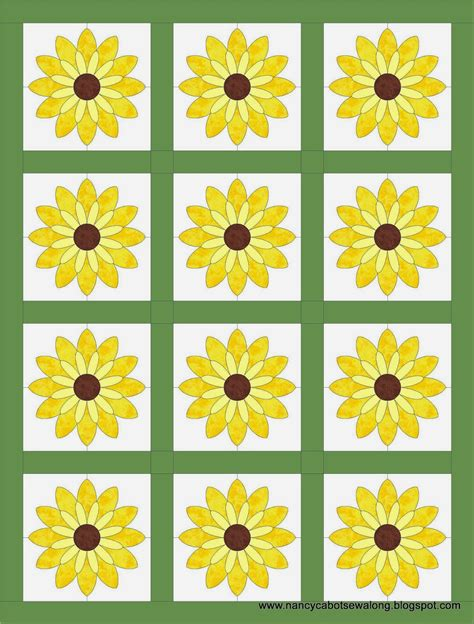 Sunflower Quilt Block Pattern by About Nancy Sunflower Quilt Block