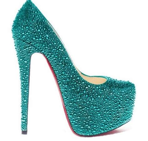 turquoise high heels shoes shoes turquoise rhinestones style swarovski swarovski