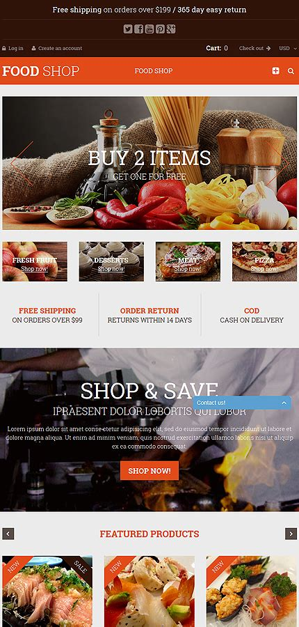shopify themes food food shop shopify theme tablet layout